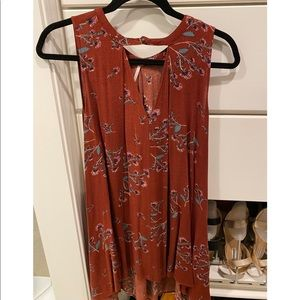 Free People Rust floral sleeveless tunic